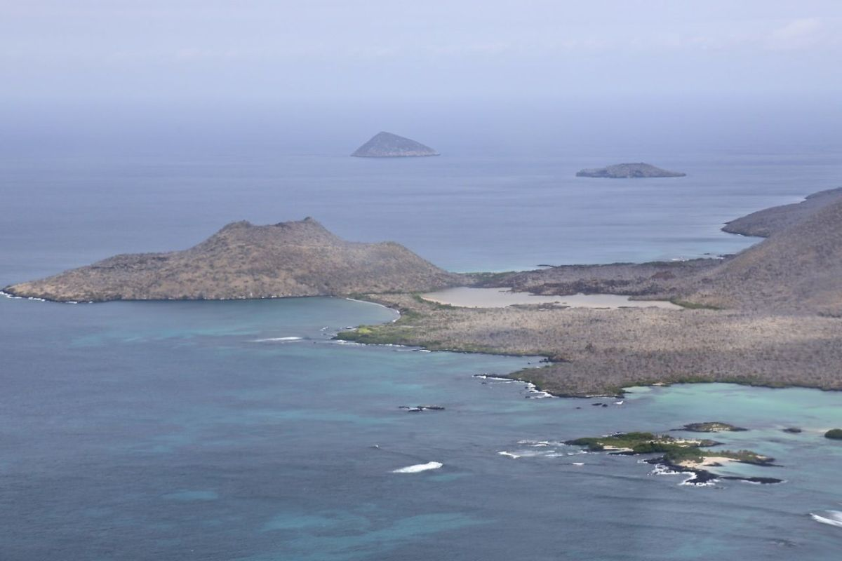 Vista aérea de Punta Cormorant, en la isla Floreana, hábitat histórico de la Pseudalsophis biserialis biserialis. Foto cortesía de la Dirección del Parque Nacional Galápagos