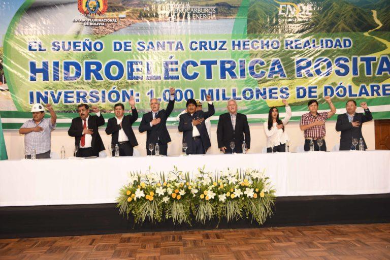 Hidroeléctrica Rositas El contrato para la construcción de la hidroeléctrica Rositas se firmó durante el gobierno de Evo Morales. Foto: ABI.