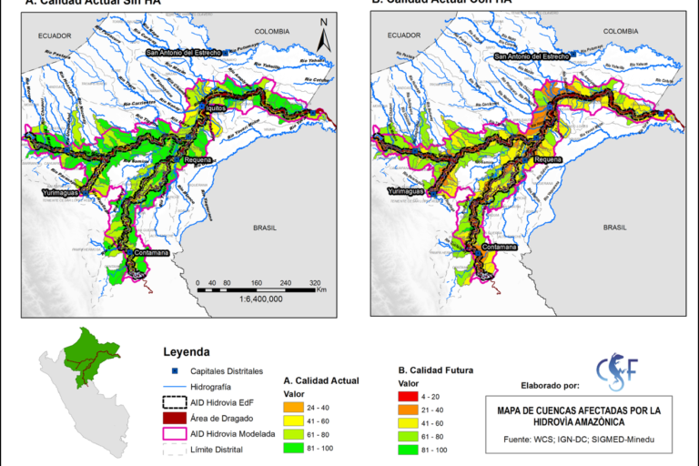 Análisis comparativo que muestra el nivel de impacto de la Hidrovía Amazónica. Fuente: Estudio de CSF.