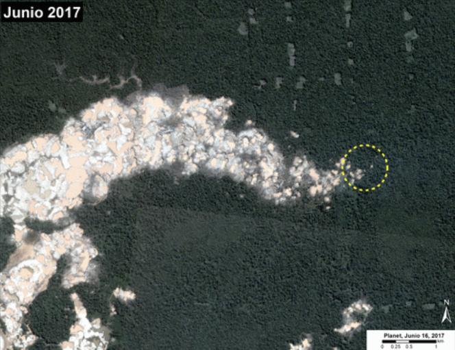Imágenes satelitales de MMAP muestran la deforestación en La Pampa, en Madre de Dios. Fuente: MAAP/Planet.