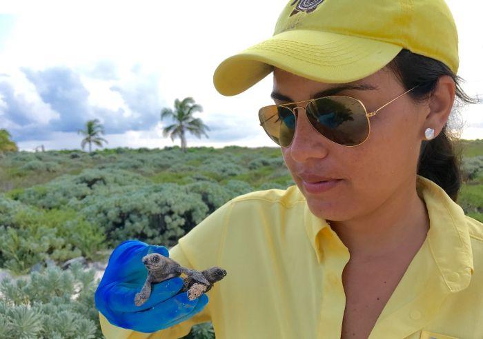 Karla Barrientos estudia a las tortugas en Serrana. Foto: Fundación Tortugas de Mar