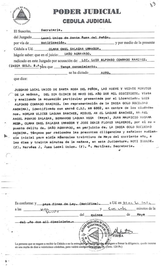 Cédula judicial que recibieron cada uno de los siete denunciados. Imagen: Onda Local.