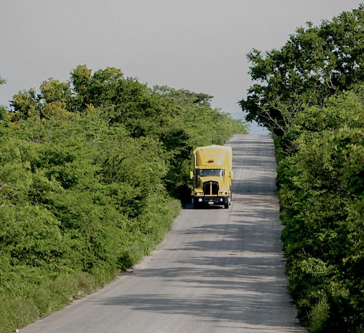 Un camión de carga circula por la carretera fronteriza en el municipio de Marqués de Comillas, en territorio selvático. Foto: Cortesía Ecosur.
