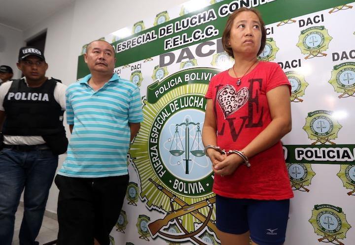 Los ciudadanos chinos Li Ming y Yin Lan fueron detenidos por la Policía boliviana. Foto: El Deber.