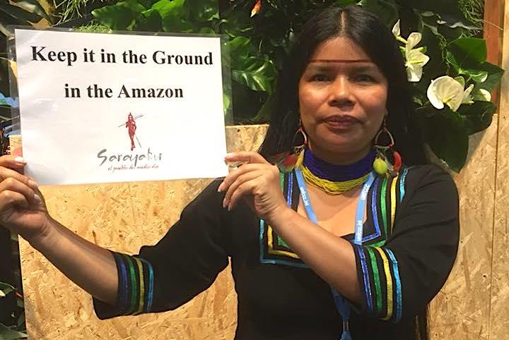 Patricia Gualinga participó en la Cumbre de Cambio Climático COP23, en Bonn, Alemania. Foto: Cortesía Patricia Gualinga.