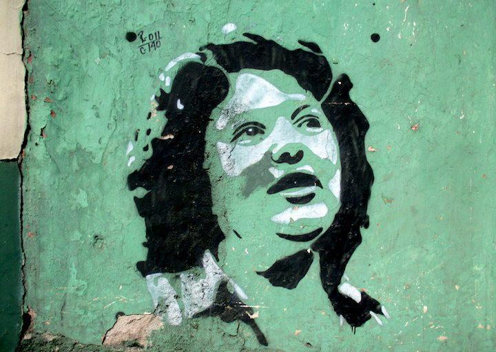 Mural de Berta Cáceres en el centro de Tegucigalpa. Foto: Sandra Cuffe.