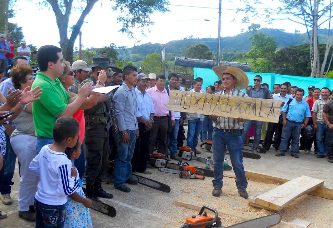 """""""No más Tala"""", escribió el más joven del grupo de taladores como despedida de las motosierras, el día que hicieron la paz con el bosque. Foto: Cortesía Diario La Nación."""