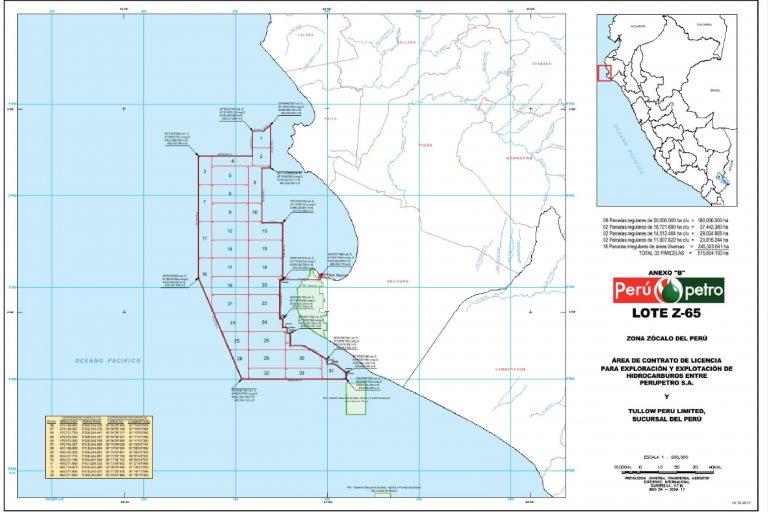 El Lote Z-65 se encuentra rente a las costas de Paita y Sechura de la región Piura. Fuente: El Peruano.