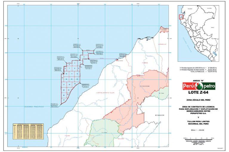 El Lote Z-64 se encuentra ubicado en el zócalo continental frente a las costas de la región Tumbes. Fuente: El Peruano.