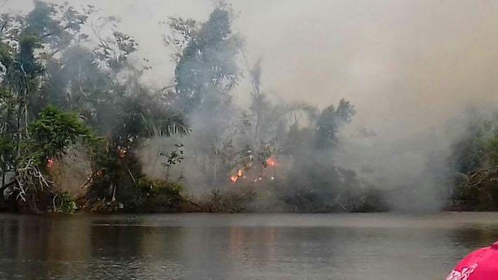 Humareda de los incendios en la reserva. Foto: Cortesía Salvemos la Reserva Indio Maíz.