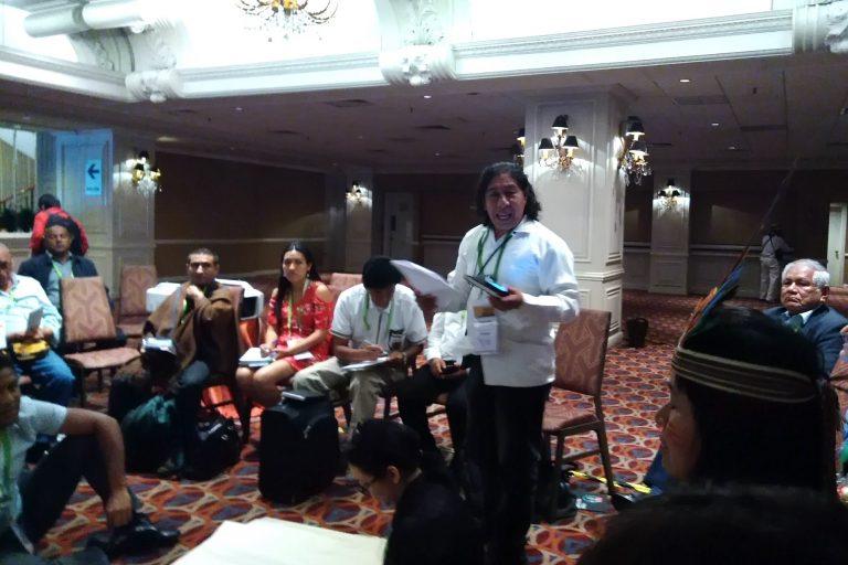 Romel González, coordinador general de la Coalición Abya Yala critica la política de Donal Trump porque promueve el racismo contra los pueblos indígenas. Foto: Yvette Sierra Praeli