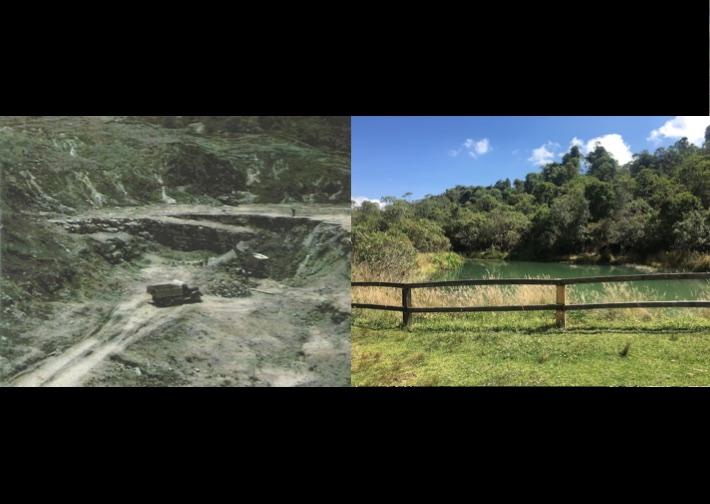 Donde operaba la mina hoy existe un lago artificial. Fotos: Fundación Natura.