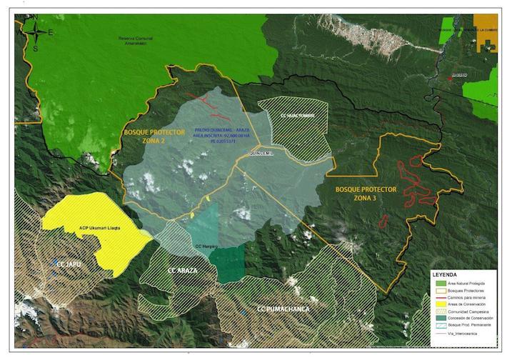La zona norte del Predio Quincemil Araza es zona de amortiguamiento de la Reserva Comunal Amarakaeri y también parte de los Bosques Protectores. Este es uno de los lugares más impactados por las actividades ilegales. Foto: Conservación Amazónica - ACCA.