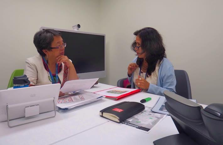 La indígena uchupiamona en la reunión sostenida con la relatora especial de asuntos indígenas de la ONU: Foto: Cortesía Alipaz.
