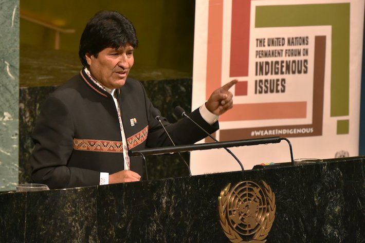 El presidente boliviano, Evo Morales, durante su intervención en la 17 sesión del Foro de Cuestiones Indígenas de la ONU. Foto: ABI.