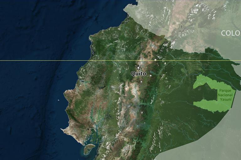 El Parque Nacional Yasuní queda ubicado en la Amazonía, en el noreste de Ecuador. Foto: DigitalGlobe