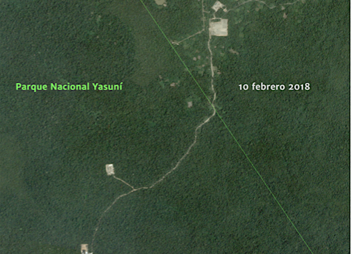 Así se había expandido la carretera en el Parque Nacional Yasuní el 10 de febrero de 2018. Crédito: MAAP, Amazon Conservation Team