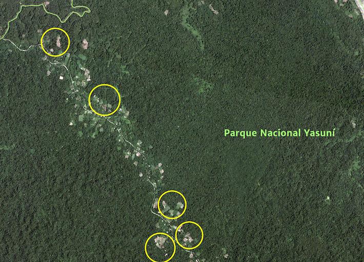 En amarillo se ven las zonas de deforestación en octubre de 2017. Crédito: MAAP, Amazon Conservation Team