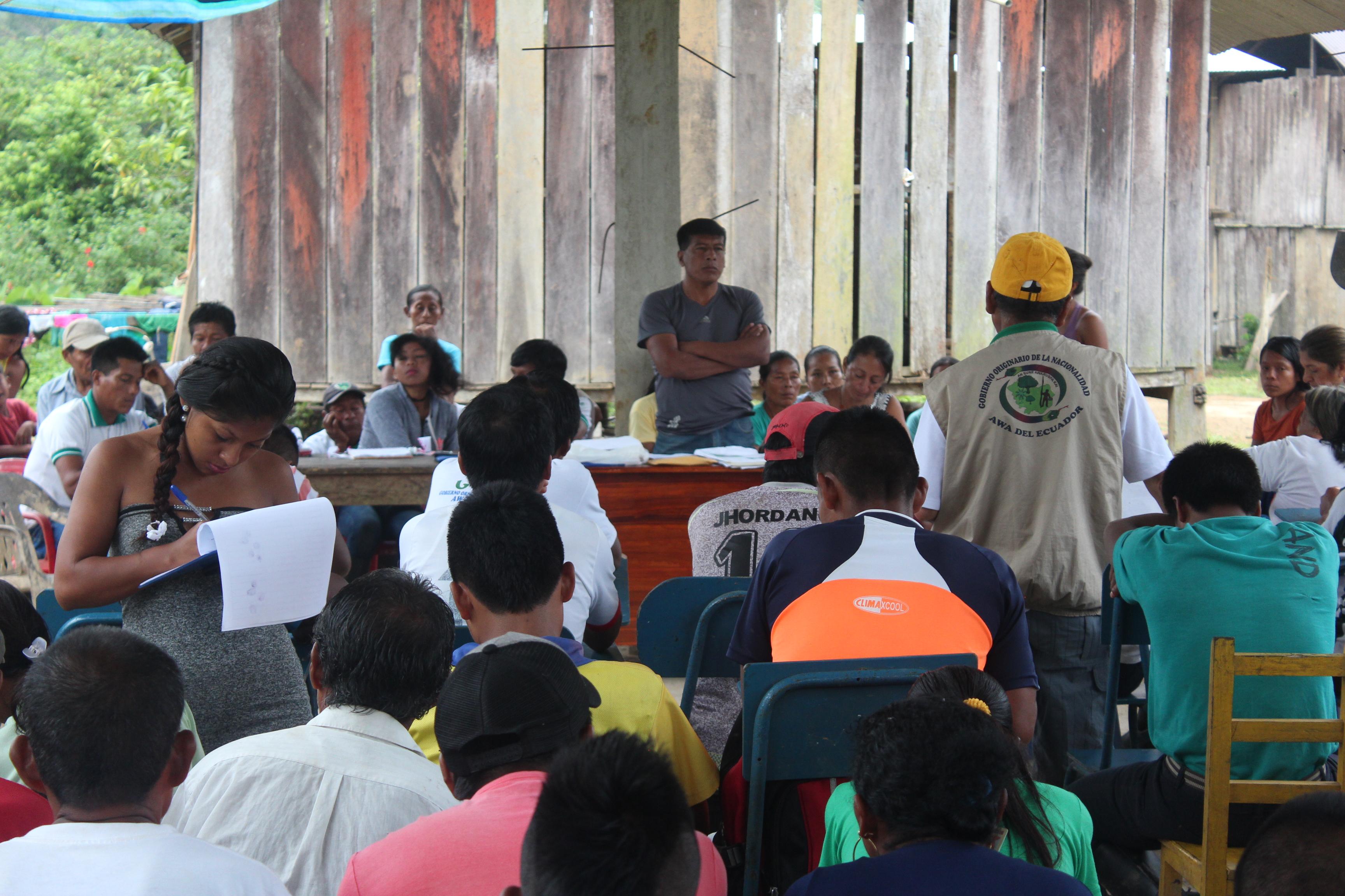 Asamblea de comunidades Indígenas Awá en Ecuador. Foto: Comunidad Awá Pambilar.