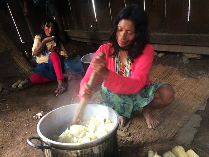 Las poblaciones machiguengas del Alto Urubamba siguen manteniendo sus costumbres. Como la preparación de masato y la yuca como uno de sus principales alimentos. Foto: Jack Lo.