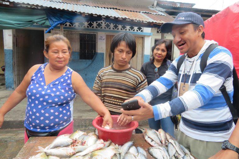 Doña Inés, en el mercado Modelo de Iquitos, mira con atención el aplicativo Ictio, creado para monitorear la pesca en ríos, mercados y puertos. Foto: Yvette Sierra Praeli.
