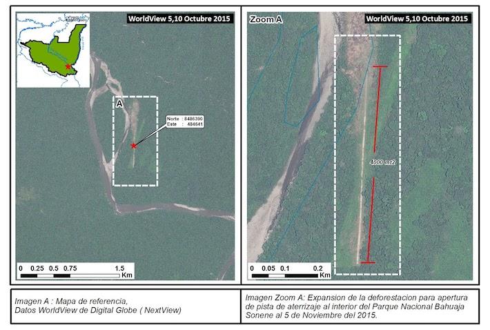 En el 2015, los guardaparques del Bahuaja Sonene identificaron una pista de aterrizaje clandestina dentro del parque. Fuente: WorldView de Digital Globe.