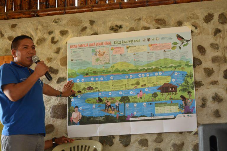 En la reunión de la Gran Familia Awá Binacional se recordaron los valores y formas de vida de la nacionalidad Awá que incluyen el cuidado de la naturaleza. Foto: Observatorio Minero, Social y Ambiental del Norte del Ecuador.