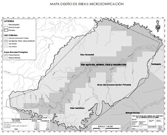 De acuerdo con el plan de vida de la comunidad de Kotsimba, se ha zonificado el área donde se hace la minería y donde se hará el proyecto de conservación. Sin embargo, el área minera colinda con el parque. Foto: Comunidad Nativa de Kotsimba.