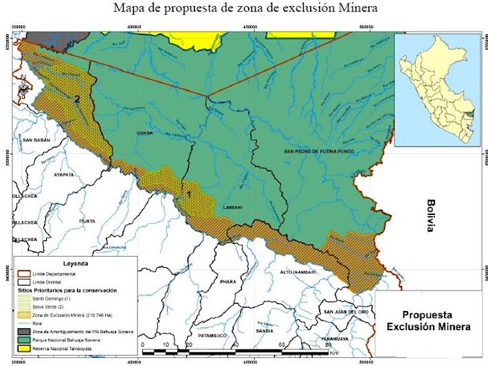 La minería ilegal está presente por todo el lecho del río Inambari, donde comienza la zona de amortiguamiento del Bahuaja Sonene. Pero la Comisión Ambiental Regional de Puno ha planteado la creación de un área de exclusión minera, que incluye toda la zona de amortiguamiento. Fuente: Comisión Ambiental Regional de Puno.