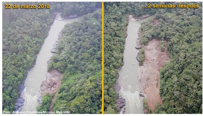 En solo dos semanas, entre finales de marzo y principios de abril, se aprecia el gigantesco avance de la minería a orillas del río Aguarico. Foto: Nicolás Mainville/Amazon Frontlines.