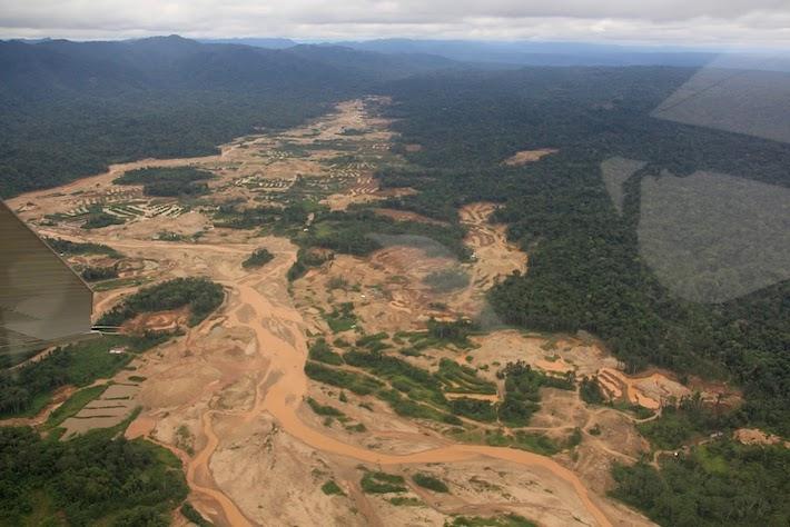 En el 2016 el Sernanp realizó un sobrevuelo en Kotsimba para comprobar los daños causados por la minería ilegal en la comunidad, que también es zona de amortiguamiento del Bahuaja Sonene. Estos fueron los resultados. Foto: Sernanp.