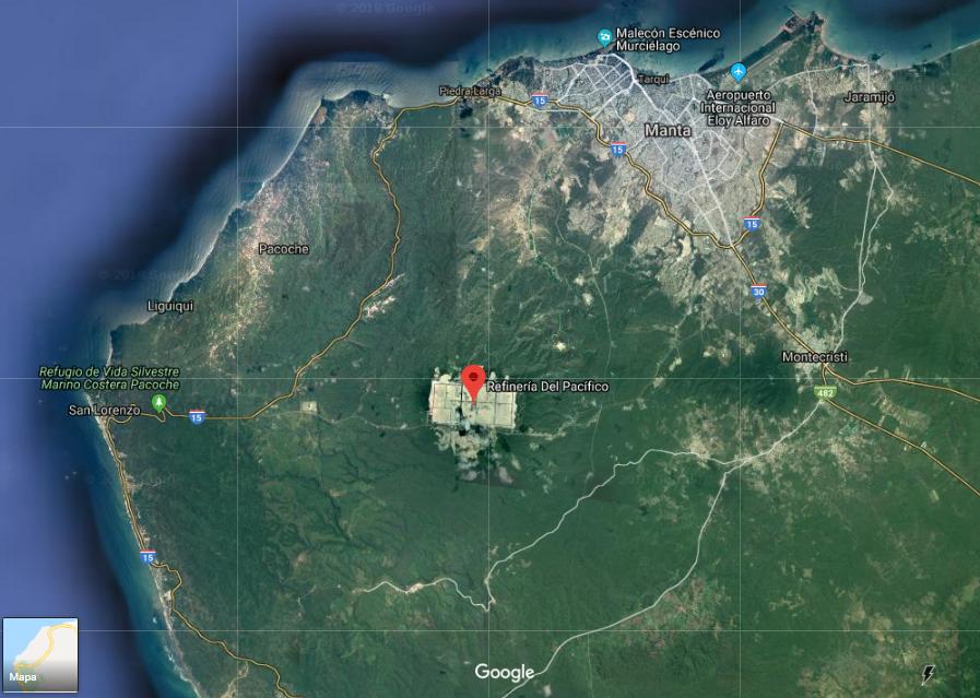Imagen satelital del campo deforestado para la Refinería del Pacífico.