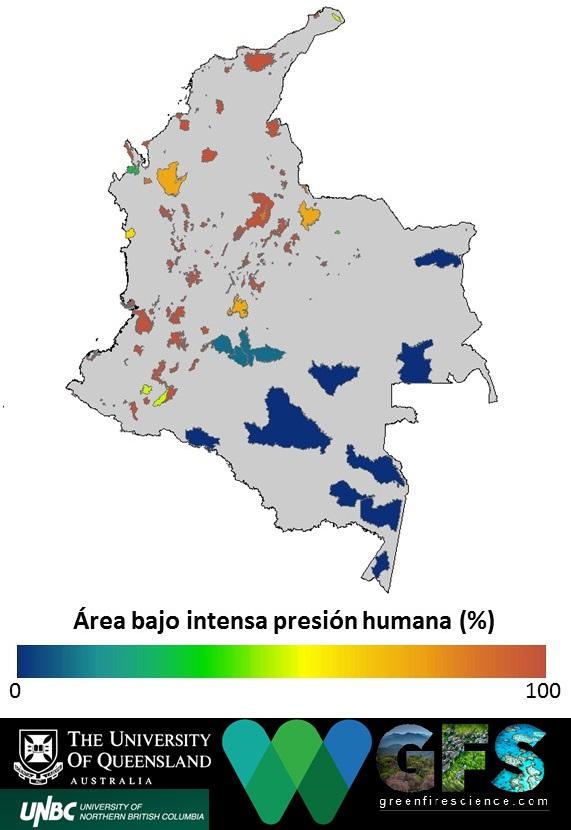 Las áreas protegidas en la región Andina y Caribe de Colombia son las que más impactadas se encuentran por actividades humanas.