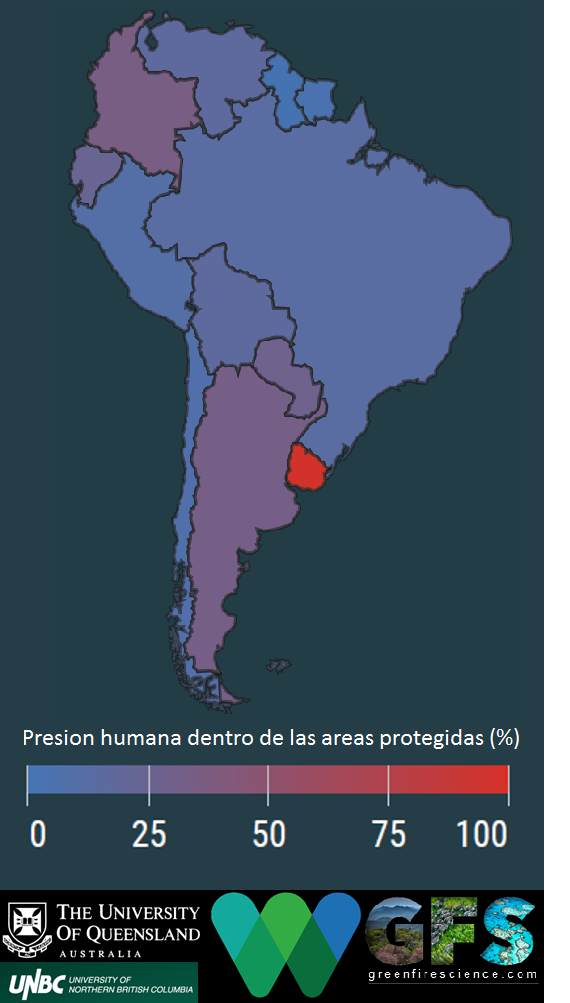 Prácticamente todas las áreas protegidas en Uruguay (enrojo) están bajo intensa presión humana. Es el país más crítico de la región.