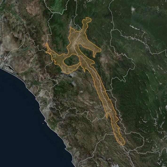 La extensión total de los bosques secos del Marañón es de aproximadamente 373 mil hectáreas. La propuesta del ACR Bosques Tropicales Estacionalmente Secos del Marañón es de 13 929 hectáreas. Crédito: Naturaleza y Cultura Internacional / Gobierno Regional de Amazonas.