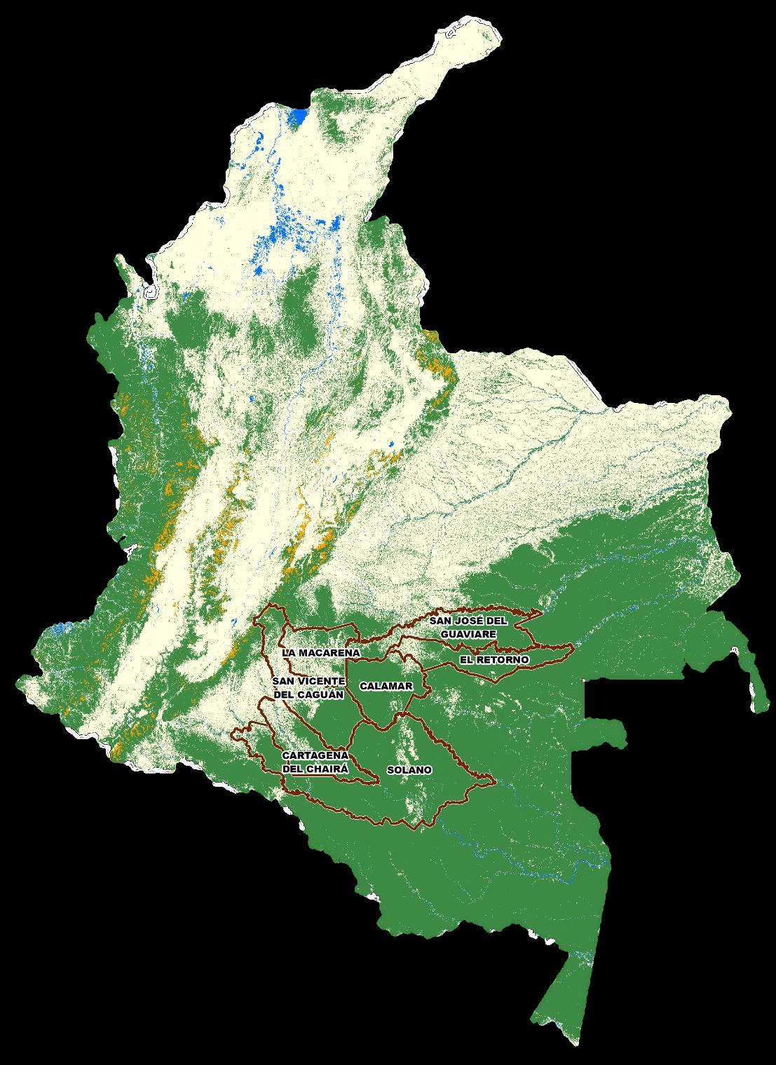 En solo 13 municipios se concentra el 62,2% de la deforestación en Colombia. Foto: Ideam.