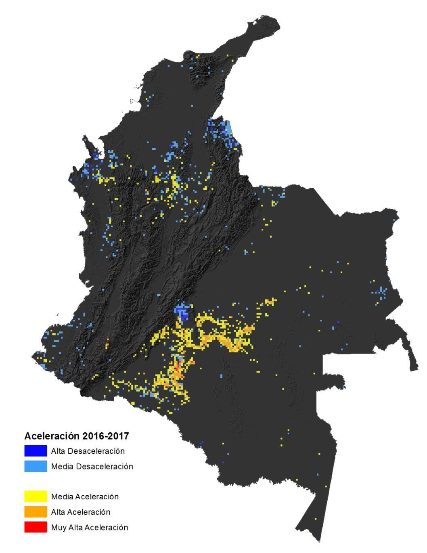 Estos son los puntos del país donde la deforestación se presenta de forma acelerada y donde se ha disminuido el fenómeno. Foto: Ideam.