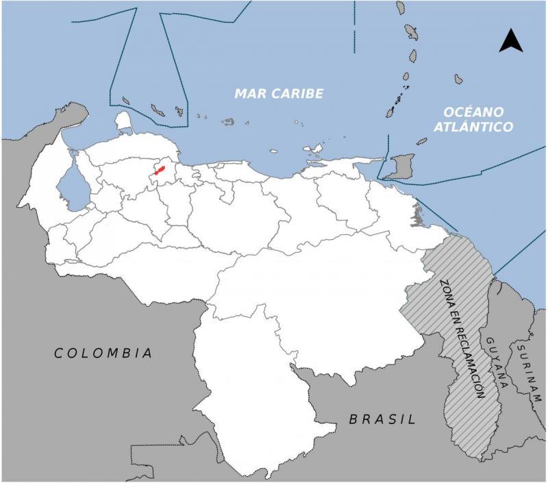 La pequeña área roja indica el espacio donde habita la musaraña de la Sierra de Aroa en el Estado de Yaracuy. Funte: Libro Rojo de la Fauna Venezolana.