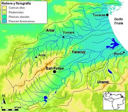 Las cuencas de los ríos Yaracuy y Aroa son contiguas y desembocan en las costas turísticas de Carabobo, reconocidas por sus arenas blancas y aguas cristalianas, así como por el Parque Nacional Morrocoy.