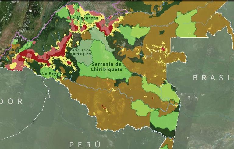 Color rojo: focos de deforestación nuevos o intensificados. Color rosado: focos de deforestación persistente. Color amarillo: deforestación esporádica u oscilante. Mapa: MAAP, Amazon Conservation Team.
