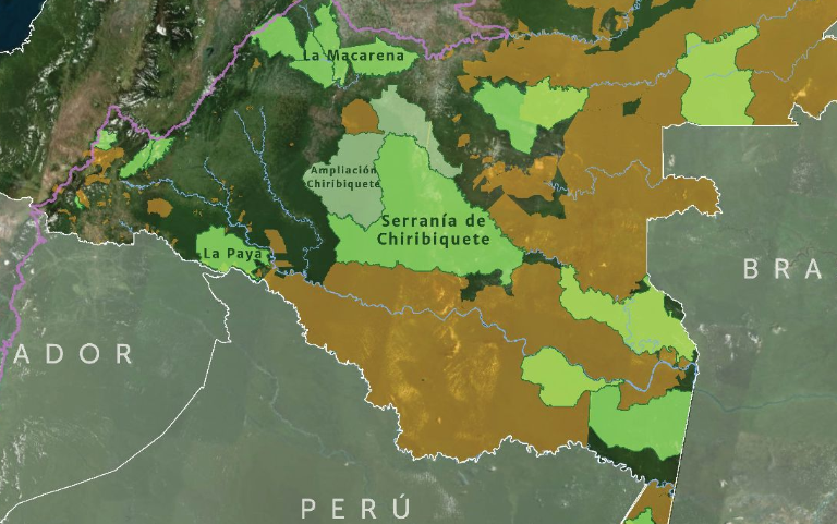 Color verde: áreas protegidas. Color marrón: resguardos indígenas. Mapa: MAAP, Amazon Conservation Team.