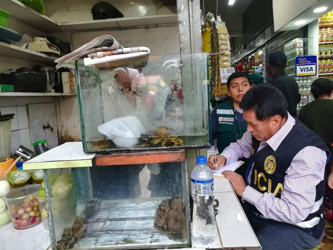 La Policía realizó un trabajo de inteligencia para capturar a los comerciantes de las piezas de animales provenientes del tráfico de especies. Foto: Dirección del Medio Ambiente de la Policía Nacional.