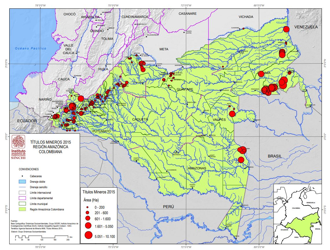 Títulos mineros en la región amazónica de Colombia a 2015. Fuente: Instituto SINCHI.