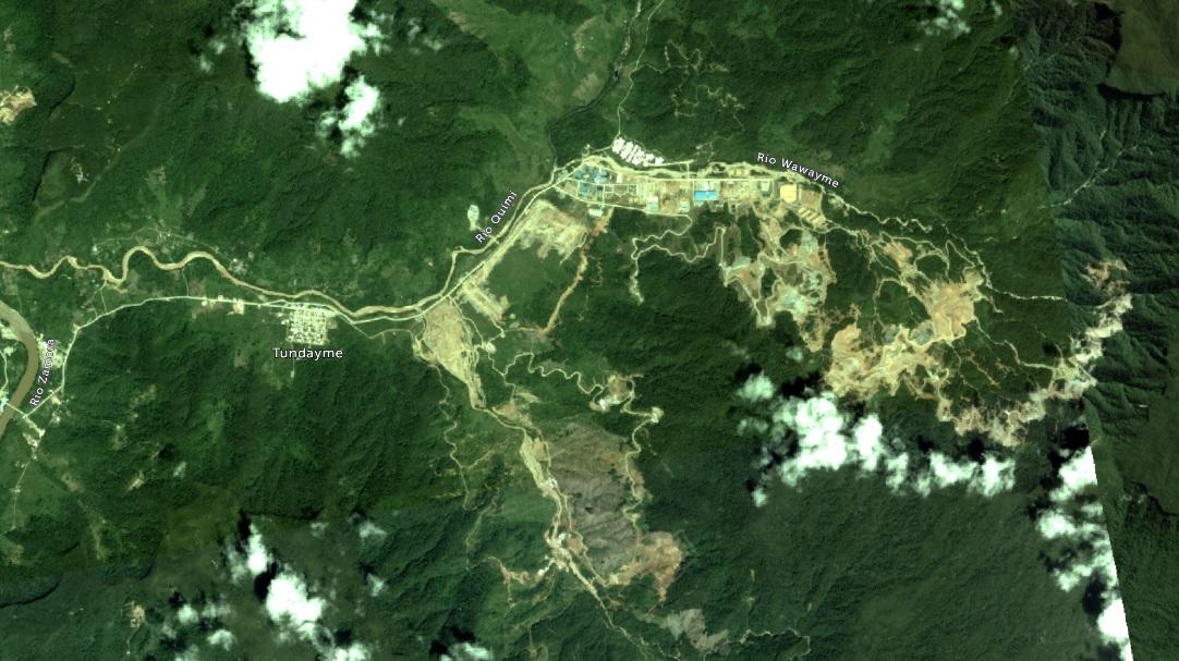 En esta imagen de 2017 del proyecto Mirador se aprecia un avance significativo de la deforestación de esta parte de la Cordillera del Cóndor, en comparación con el estado de la zona en 2010. Foto de Planet. MAAP/ACT