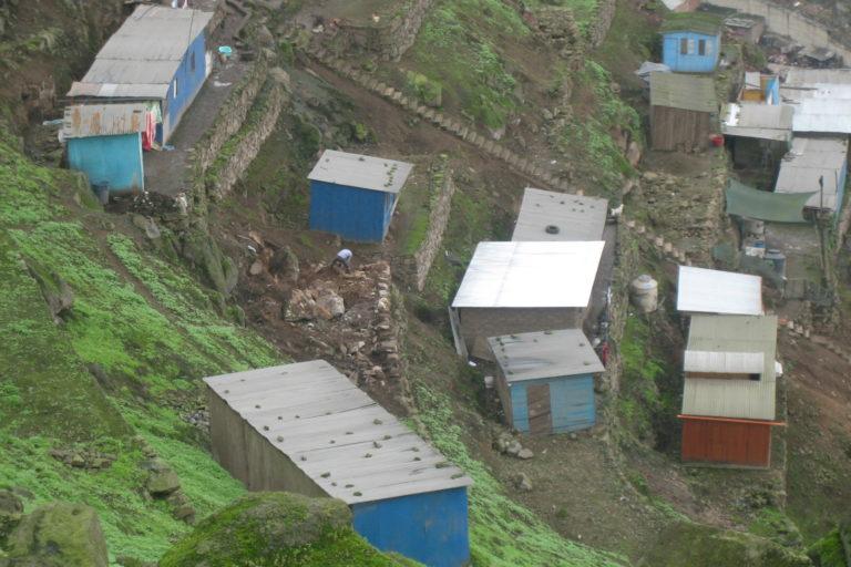 Precarias viviendas se construyen en las laderas de la Lomas de Amancaes. Foto: Cecilia Jananpa. PAFLA