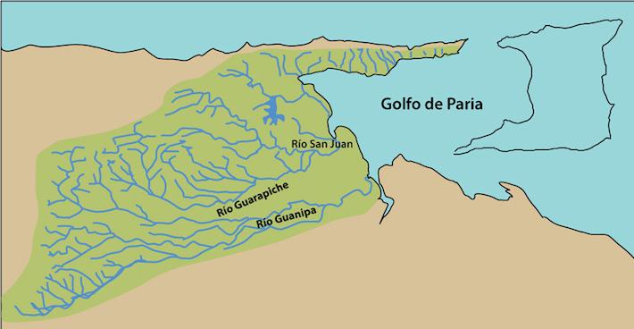 Cuencas Orientales alrededor del Guarapiche. Fuente: Antonio Machado-Allisom