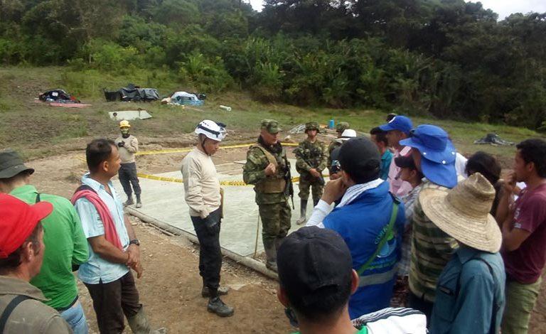El Ejército Nacional hace presencia en el bosque de Galilea dando seguridad a empresa petrolera. Foto: Cortesía de la comunidad de Galilea.