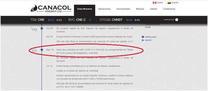 En esta captura de pantalla de la página web de Canacol la empresa informa que en 2010 ganó dos contratos, entre ellos el COR 1,1 con prospectiva de no convencionales en la Cuenca del río Magdalena, el cual afecta al Bosque de Galilea. Foto: Captura de pantalla página web Canacol.