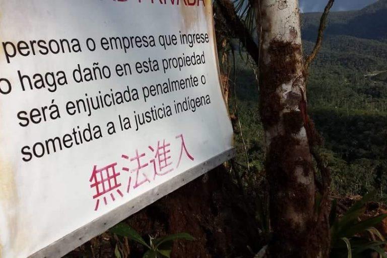 Anuncios que dejan las comunidades en medio de sus territorios ancestrales. Foto: Comunidad Amazónica de Acción Social Cordillera del Cóndor Mirador (Cascomi).