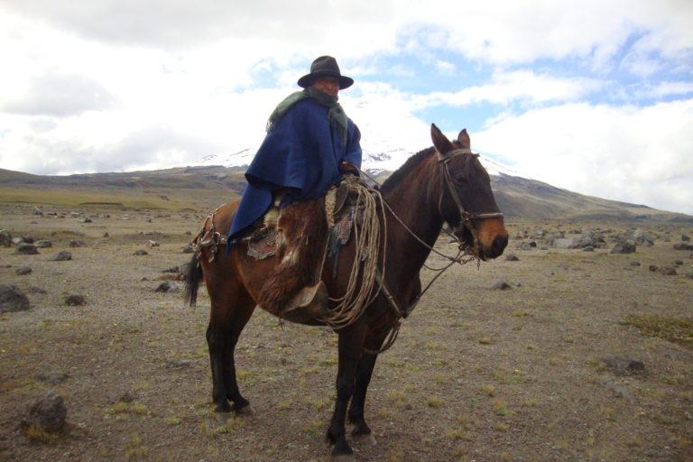Un chagra (Vaquero de los Andes) en el Parque Nacional Cotopaxi. Foto: SNAP.